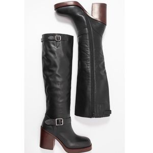 Jeffrey Campbell Lottie Black Leather Tall Boots 5